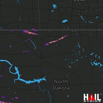 Hail Map Dickinson, ND 07-18-2019
