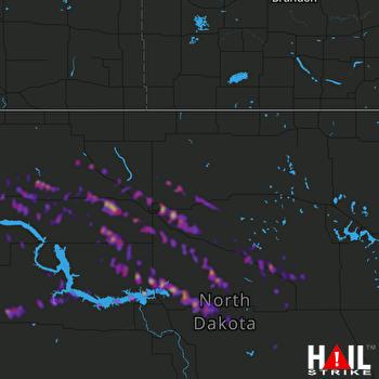 Hail Map Harvey, ND 08-05-2019