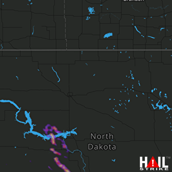 Hail Map Beulah, ND 08-31-2021