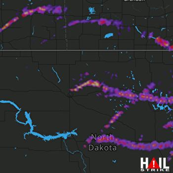 Hail Map Devils Lake, ND 06-09-2017