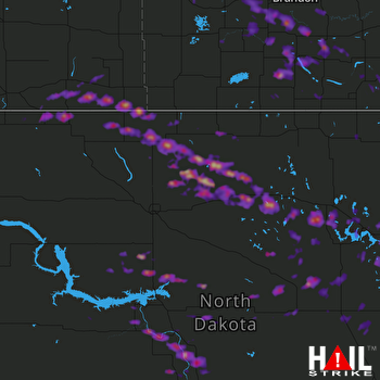 Hail Map Bismarck, ND 07-22-2017