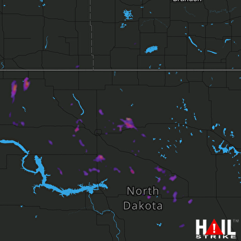 Hail Map Berthold, ND 08-18-2017