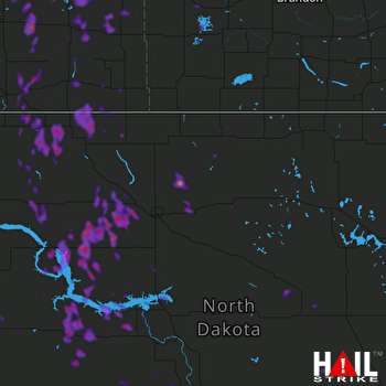 Hail Map New Town, ND 06-11-2018