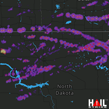Hail Map New Town, ND 06-14-2018