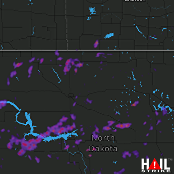 Hail Map Williston, ND 06-29-2018