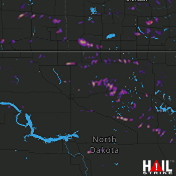 Hail Map Belcourt, ND 07-01-2018