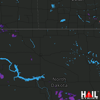 Hail Map Williston, ND 07-10-2018