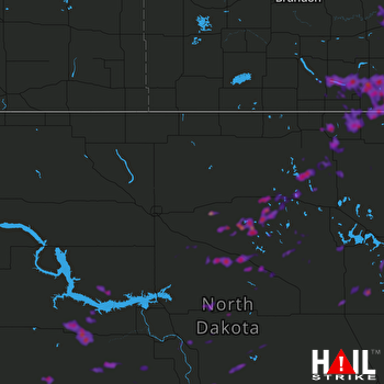 Hail Map Rugby, ND 07-15-2018