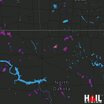 Hail Map Belcourt, ND 07-18-2018