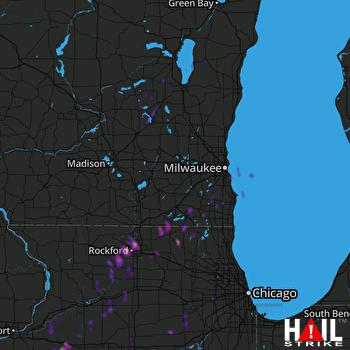 Hail Map Burlington, WI 11-10-2020