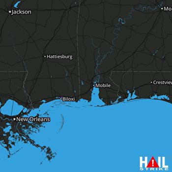 Hail Map Ocean Springs, MS 02-10-2021