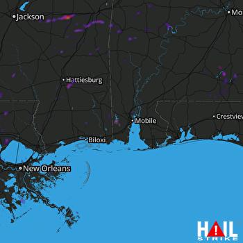 Hail Map Saraland, AL 07-31-2018