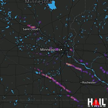 Hail Map La Crosse, WI 08-13-2019
