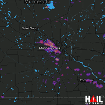 Hail Map Minneapolis, MN 08-10-2020
