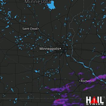 Hail Map Austin, MN 08-28-2021