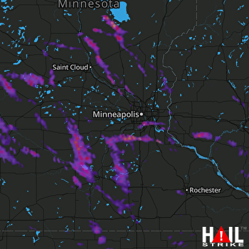 Hail Map Lakeville, MN 07-10-2017
