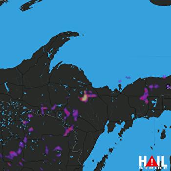 Hail Map Iron Mountain, MI 06-08-2021