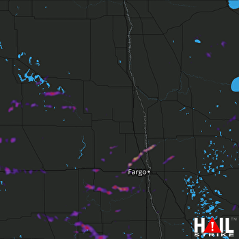 Hail Map Oakes, ND 07-04-2019