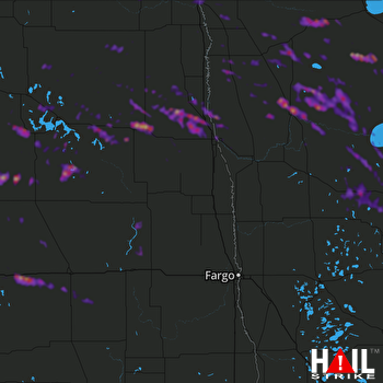 Hail Map Grand Forks, ND 08-07-2019