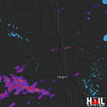 Hail Map Jamestown, ND 06-08-2021