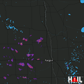 Hail Map Valley City, ND 06-06-2018