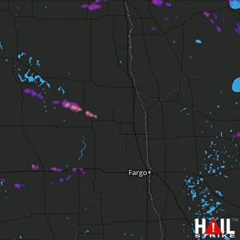 Hail Map Valley City, ND 08-05-2018