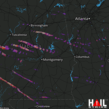 Hail Map Clanton, AL 03-26-2019