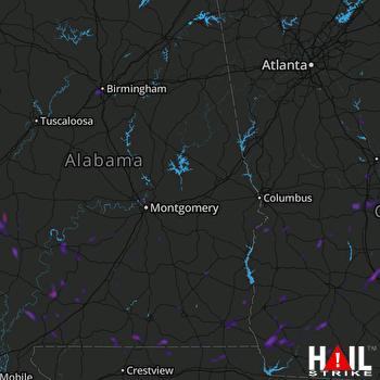 Hail Map Montgomery, AL 07-15-2021