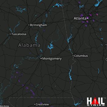 Hail Map Atlanta, GA 07-25-2017