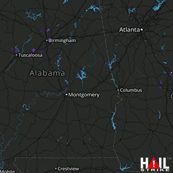 Hail Map Birmingham, AL 08-22-2017