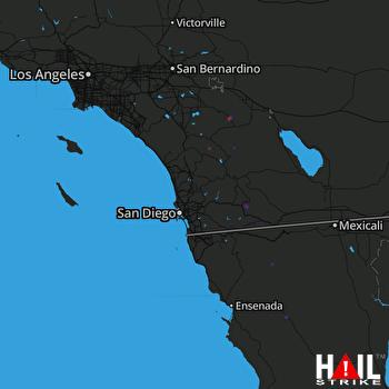 Hail Map Pine Valley, CA 08-15-2018