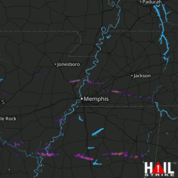 Hail Map Munford, TN 03-19-2018