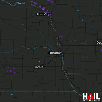 Hail Map North Sioux City, SD 07-22-2017