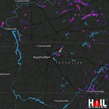 Hail Map Cleveland, TN 06-11-2018