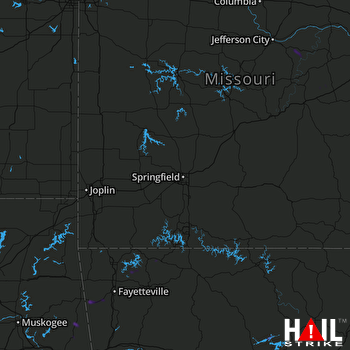 Hail Map Paris, AR 08-07-2018