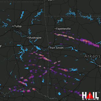 Hail Map Mena, AR 03-25-2019