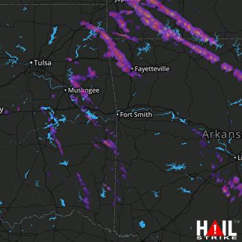Hail Map Fayetteville, AR 03-10-2017