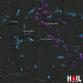 Hail Map Little Rock, AR 08-19-2017