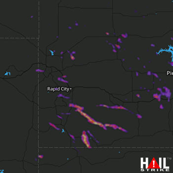 Hail Map Piedmont, SD 08-07-2018