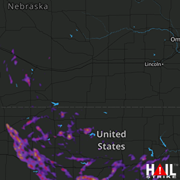 Hail Map Great Bend, KS 08-25-2019