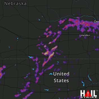 Hail Map Omaha, NE 08-08-2021
