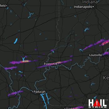 Hail Map Evansville, IN 10-16-2021