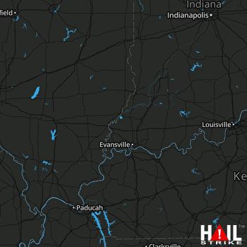 Hail Map EVANSVILLE 08-09-2018