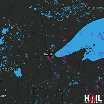 Hail Map Two Harbors, MN 08-08-2018