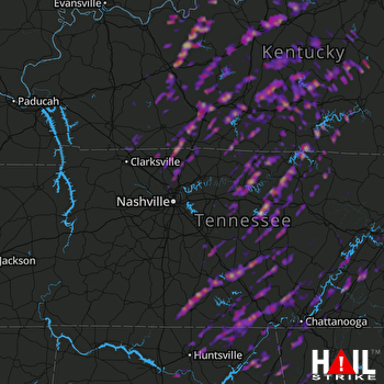 Hail Map Bowling Green, KY 04-05-2017